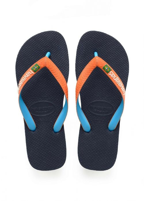HAVAIANAS UNISEX FLIP FLOPS.NEW BRASIL MIX WATER RESISTANT BLUE THONGS 9S 06 677